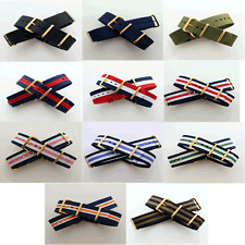 Nato / Nylon Watch Strap with Gold Buckle / Rings : 11 Colours: 18, 19, 20, 22mm