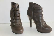 ASH Bottines Boots à Talons Cuir Marron Taupe Doublées cuir T 37 TTBE