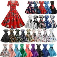 Womens 1950s 60s Vintage Rockabilly Evening Party Prom Swing Party Midi Dress UK