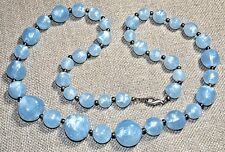 VINTAGE GORGEOUS BABY BLUE COLOR CHUNKY SUPER LONG NECKLACE
