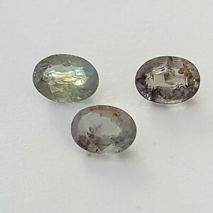2.41cts faceted oval loose natural colour change alexandrites, 3 stones, 6.6x5mm
