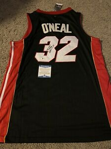 Shaq Shaquille O'Neal Signed Swingman Style Miami Heat Jersey Beckett BAS Wit