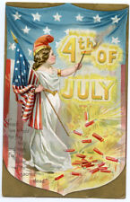 Tuck 4th of July Independence Day Child Lady Liberty Flag Shield Firecrackers