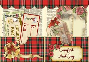 VICTORIAN CHRISTMAS- VINTAGE JUNK JOURNAL KIT - JOURNAL PAGES - TAGS