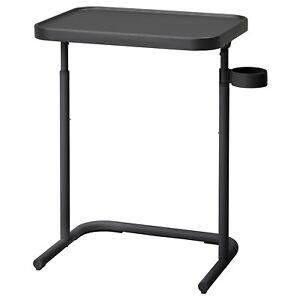 Overbed Table Adjustable Height Laptop Study Bedside coffee holder Matt Black