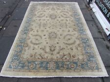 Tradicional Old Hecho a Mano tinte natural crema de lana afgano Ziegler Alfombra 234x159cm