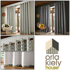 Orla Kiely Designer LINEAR STEM Leaf Print Lined Eyelet Ring Top Curtains Pair
