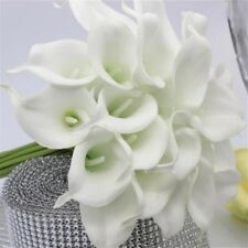10 Stems Of Ivory Real Touch Artificial Calla Lilies Wedding Bridal Bouquet Gift