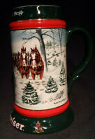 Budweiser The Seasons Best Collector's Series Holiday Beer Stein Mug 1991 Horses