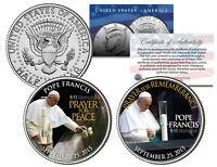 POPE FRANCIS Visits 9/11 Memorial PEACE PRAYER - 2015 JFK Half Dollar 2-Coin Set