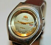 Orient crystal 3 STAR automatic watch men 21 jewels olive dial Vintage RARE