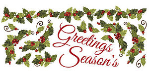 SEASONS GREETINGS IVY WALL DECALS Christmas Stickers Holiday Decorations