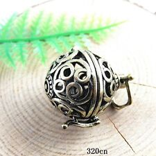 3x Antique Bronze Copper Mexican Bola Bell Angel Baby Caller Crafts Charms 51420