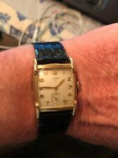 VINTAGE 1949 ELGIN 554 17J Tank Watch 10K RGP MENS WRISTWATCH RUNNING!!