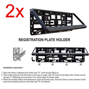2x Black Number Plate Surround Holders Frame for any Car Van Bus Tuning Sport