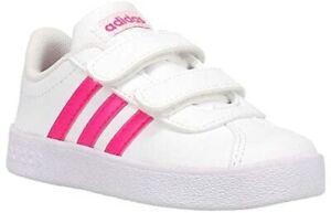 Toddler Adidas VL COURT 2.0 EG3890 Cloud White / Shock Pink Brand New