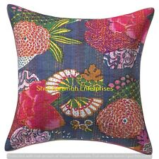Floral Print Indian Cushion Cover Hippie Couch Decor Throw Pillows Boho Kantha