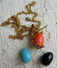 Joan Rivers GOLD TONE OPEN WORK EGG BASKET NECKLACE PENDANT 3 EGGS