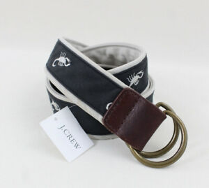 J.Crew NWT Multi Gray Scorpioin Embroidered Canvas Belt Size S M