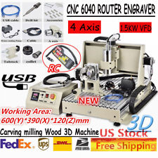 Usb 4 Axis Cnc 6040 Router Engraver Carving Milling Machine 15kw With Handwheel