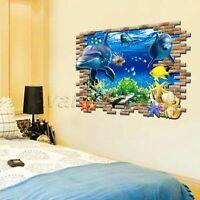 Dolphin 3D Sea Ocean Wall Stickers Vinyl Decal Kid Room Home Decor Art Poster