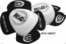 R&G RACING WHITE aero knee sliders for motorcycle race leathers