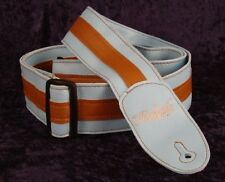 REBEL FANCY FAUX LEATHER GUITAR STRAP GTO SERIES LIGHT BLUE / BROWN