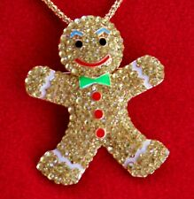 Betsey Johnson Yellow Gingerbread Man Pendant Necklace Rhinestone Christmas #2