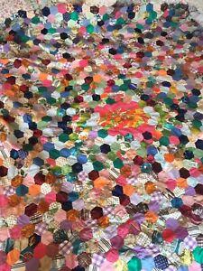 Vintage Silk Cotton Patchwork Throw Hand Stitched Bed Sofa Geometric Blanket
