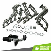 For Chevy/GMC V8 SS Long Tube Exhaust Headers Y Pipe+COLD AIR INTAKE+HEAT SHIELD