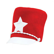 Adult Majorette Hat Red Soft Felt Marching Band One Size Unisex Fancy Dress Cost