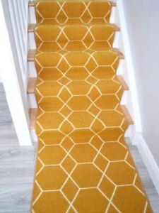 Long Narrow Gold Ochre Mustard Rugs For Stairs Runner Carpets Cheapest Online UK