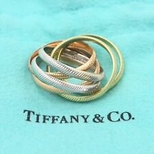 Vintage Tiffany & Co. Tri-Color Ribbed Double Trinity Solid 14k Gold Roller Ring