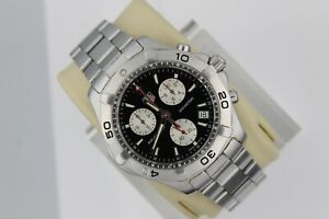 Tag Heuer Black Aquaracer Watch Mens CAF1110.BA0803 SS Chronograph Silver Swiss