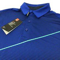 Under Armour Heat Gear Loose Men's Short Sleeve Blue Striped Golf Polo Shirt New