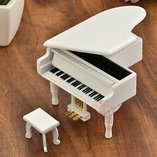 WOOD WHITE PIANO WIND UP MUSIC BOX   ♫ MARY HAD A LITTLE LAMB ♫