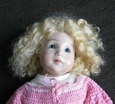 "Wax Over Porcelain Artist Doll 14"" pouty sad look mohair wig maybe Cheryl May"