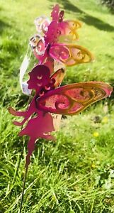 New Set Of 4 Metal Fairy On Stake With Glass Wings Garden Decor H:15.3cm or 6""