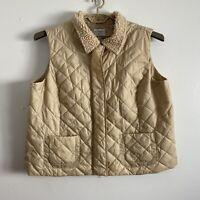 Villager Liz Claiborne Plus Size 3X Puffy Vest Quilted Sherpa Fleece Collar