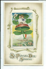Postcard Holiday St. Patrick's Day Man & Woman on Airship Silk Insert