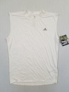 ADIDAS Mens Sleeveless Compression Shirt | White/Silver | XL | 479054 | NWT