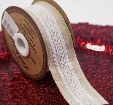 Eleganza Lino Blanco Encaje Cinta 38 Mm x 5yds Vintage Rustic tema Decoración Envoltorio