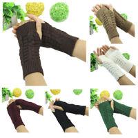 Ladies Winter Unisex Arm Warmer Elbow Long Crochet Fingerless Mitten Knit Gloves