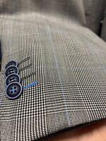 New 46S Men's Gray Glen Suit 100% Wool Super 150 Made in Italy Retail $1295