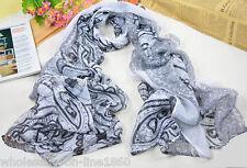 Women's Fashion White & Black Long Cotton-blend Voile Scarf Shawl Wrap