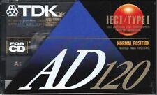 TDK AD 120 PREMIUM NORMAL POSITION TYPE I BLANK AUDIO CASSETTE - 1992