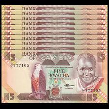 Lot 10 PCS, Zambia 5 Kwacha, Banknotes Money, 1986-88, P-25d, UNC