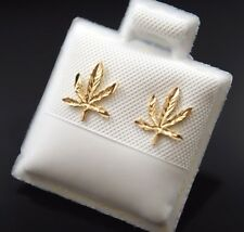 14k Gold Marijuana Leaf Plant Earrings Post Weed Mary J Oro Real Aretes Cannabis