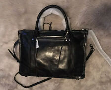 Rebecca Minkoff Black Shine Regan Satchel Tote Women's Handbag - New