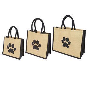 Jute Hessian Black Trim Shopping Bag - Printed Dog Paw Motif